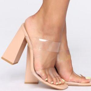 nude clear heel